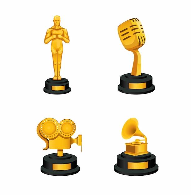 Ícone do prêmio golden thropy definido no conceito da indústria musical e cinematográfica na ilustração dos desenhos animados Vetor Premium