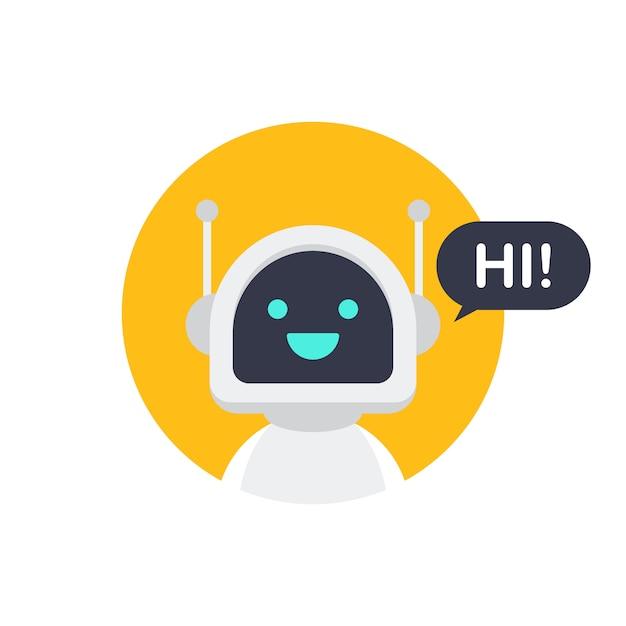 Ícone do robô. design de sinal de bot. conceito de símbolo de chatbot. serviço de suporte por voz bot. bot de suporte on-line. estoque ilustração vetorial. Vetor Premium