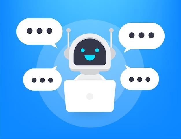 Ícone do robô. sinal do bot. conceito de símbolo do chatbot. bot de serviço de suporte de voz. bot de suporte online. ilustração. Vetor Premium