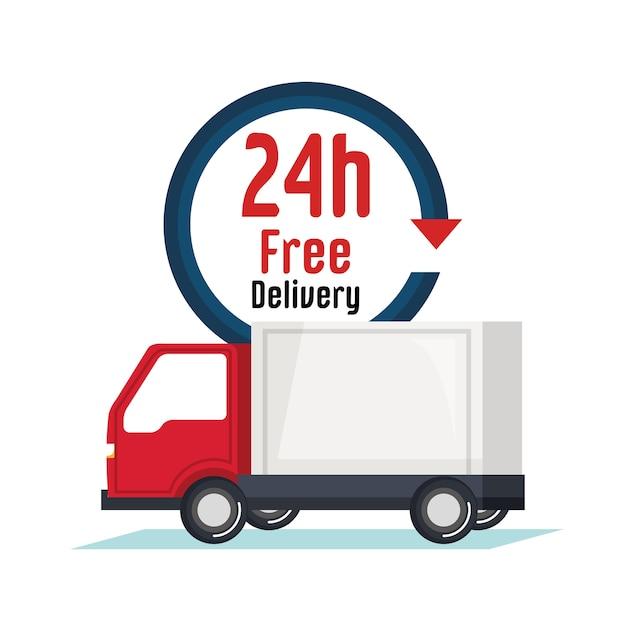 Ícone do serviço de caminhão de entrega Vetor Premium