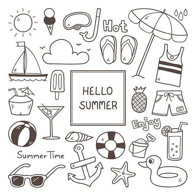Ícone do verão set Vetor grátis