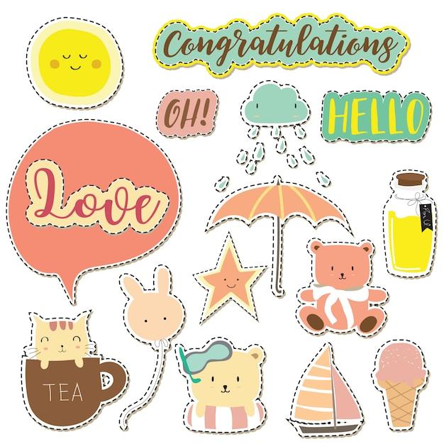 Ícone dos desenhos animados coleção withice creme, nuvem, estrela, sol, guarda-chuva e ícone de redação Vetor Premium