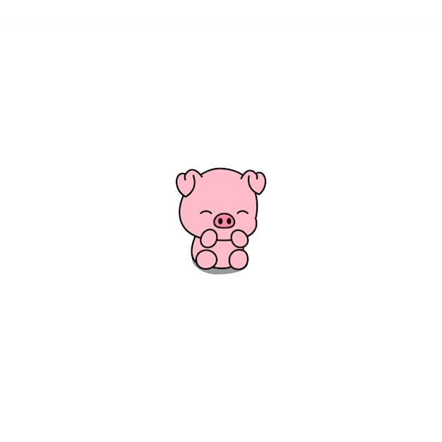 Ícone dos desenhos animados porquinho fofo Vetor Premium