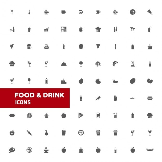Ícone drink food and set Vetor grátis