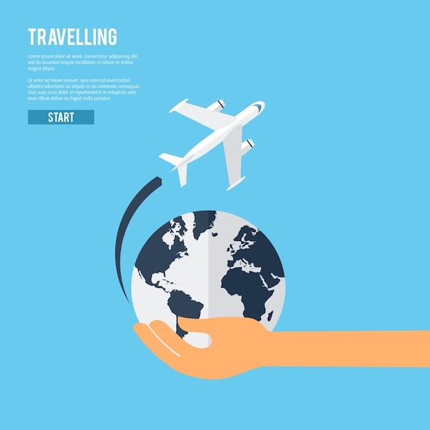 Ícone global do conceito de viagem terrestre Vetor grátis