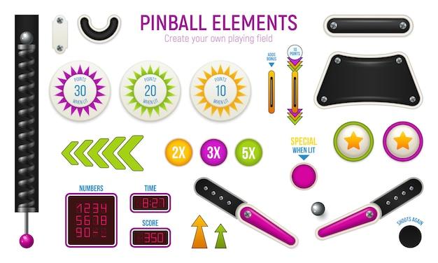 Ícone horizontal isolado e colorido de pinball com diferentes elementos do baralho Vetor grátis