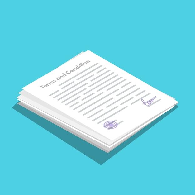 Ícone icométrico de termos e condições. documento em papel, contrato. ilustração em vetor em estilo simples. Vetor Premium