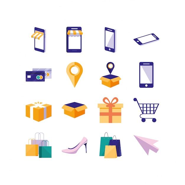 Ícone isolado de compras e comércio eletrônico conjunto vector design Vetor Premium