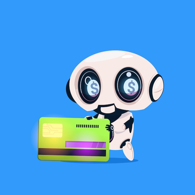Ícone isolado do cartão de crédito da posse do robô bonito na inteligência artificial da tecnologia moderna do fundo azul Vetor Premium