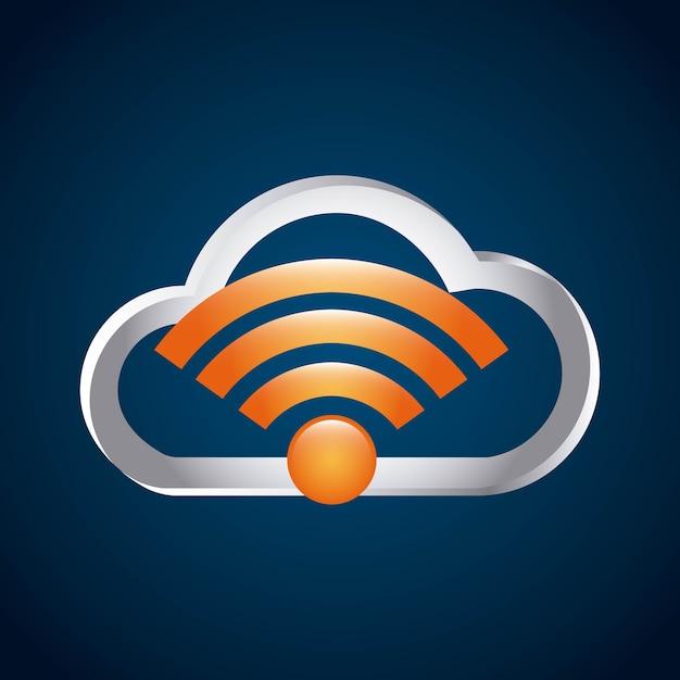 Ícone isolado do serviço de conexão wi-fi Vetor Premium