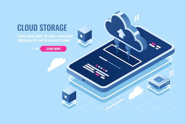 Ícone isométrica de aplicativo móvel, arquivo de download no smartphone do armazenamento do servidor de nuvem Vetor grátis