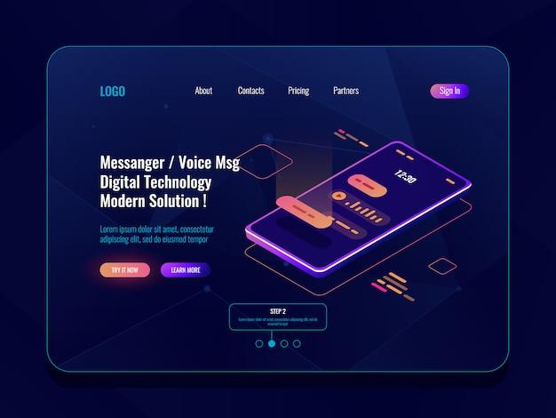 Ícone isométrica de conceito de aplicativo móvel mensageiro, telefone móvel com sms diálogo na tela, chatbot Vetor grátis