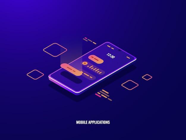 Ícone isométrica de mensagem de entrada, celular com caixa de diálogo de bate-papo na tela, mensagem de voz Vetor grátis