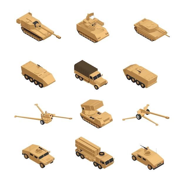 Ícone isométrica de veículos militares conjunto em tons de bege para a guerra e treinamento na ilustração vetorial do exército Vetor grátis