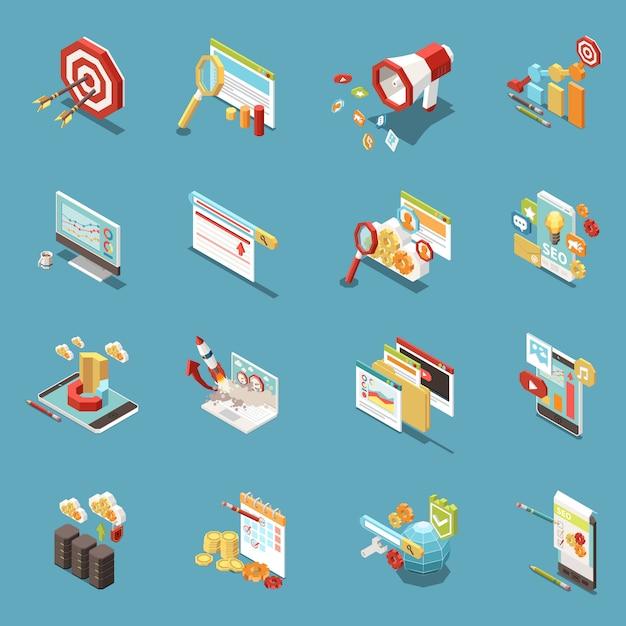 Ícone isométrico da web seo conjunto com elementos de trabalho e ferramentas isoladas abstratas gráficos xícaras de café dinheiro e bandeiras ilustração Vetor grátis