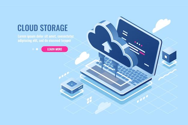 Ícone isométrico de armazenamento de dados em nuvem, upload de arquivo no servidor de nuvem para o conceito de acesso remoto, laptop Vetor grátis