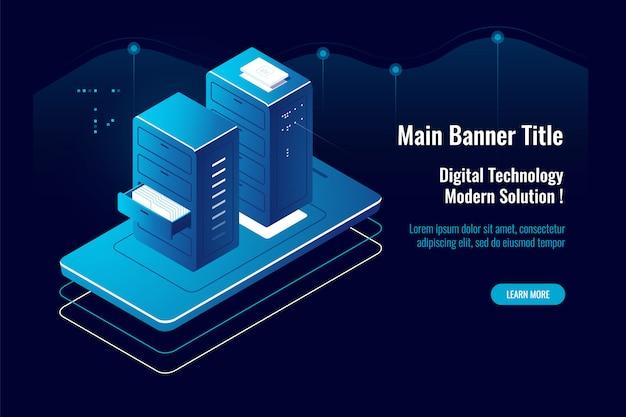 Ícone isométrico de gerenciamento de documentos on-line, aplicativo móvel, acesso a arquivos em nuvem, provedor de hospedagem Vetor grátis