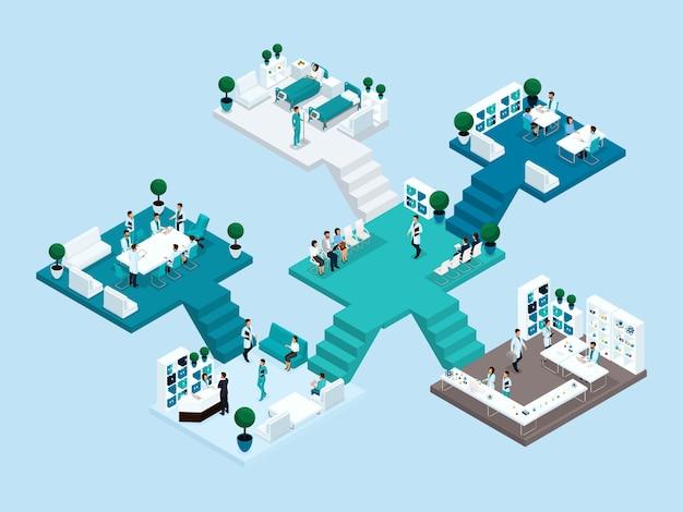 Ícone isométrico de muitos andares hospital edifício com escadas e quartos Vetor Premium