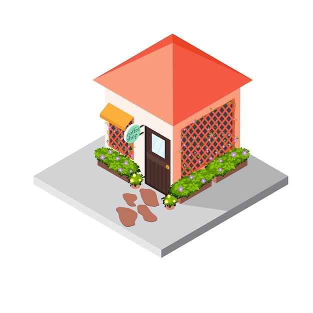 Ícone isométrico edifício café Vetor Premium