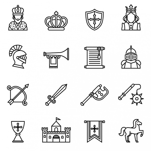 Ícone medieval do ícone ajustado com fundo branco. vetor de estoque de estilo de linha fina. Vetor Premium