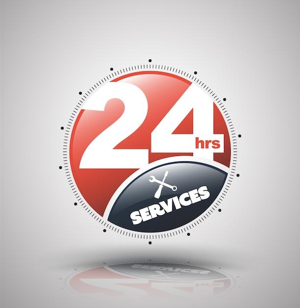 Ícone moderno 24 horas de serviços para empresas de serviços sem escalas. Vetor Premium