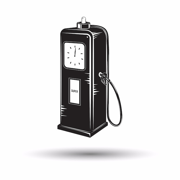 Ícone monocromático de posto de combustível retrô Vetor Premium
