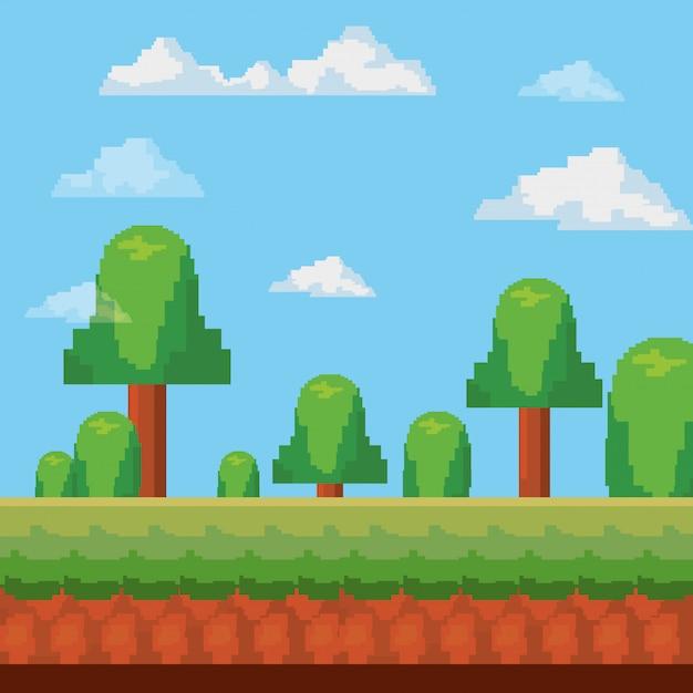 Ícone pixelated e videogame Vetor Premium