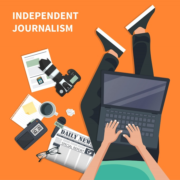 Ícone plana de jornalismo independente Vetor Premium