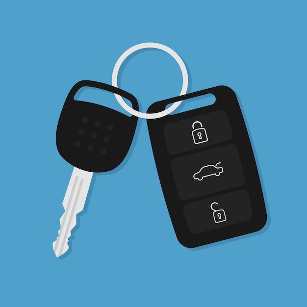 Ícone plana de vetor carro chave Vetor Premium