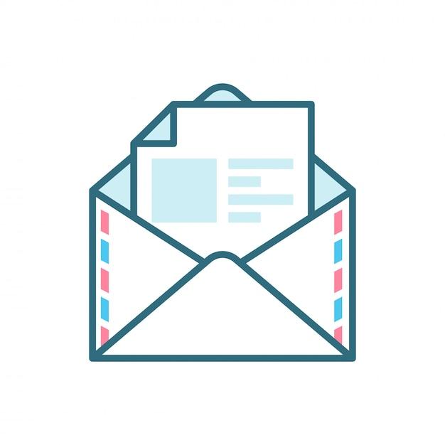 Ícone plano de correio aberto Vetor Premium