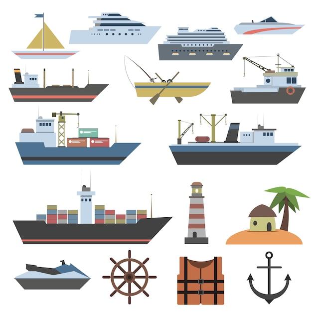 Ícone plano de navio Vetor grátis