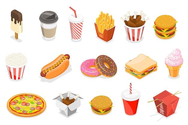 Ícone plano isométrico definido como cachorro-quente, donut, sorvete, pizza, batata frita, café, refrigerante, balde de frango, sanduíche, comida asiática. Vetor Premium