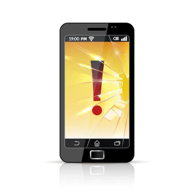 Ícone plano quebrado telefone inteligente Vetor grátis