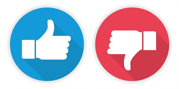 Ícone polegar para cima e polegar para baixo Vetor Premium