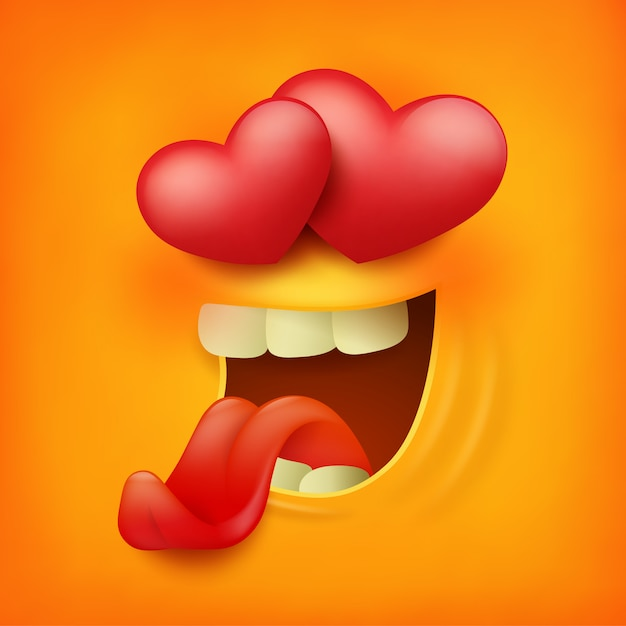 Ícone quadrado do amor amarelo do sentimento da cara do smiley do emoticon. Vetor Premium