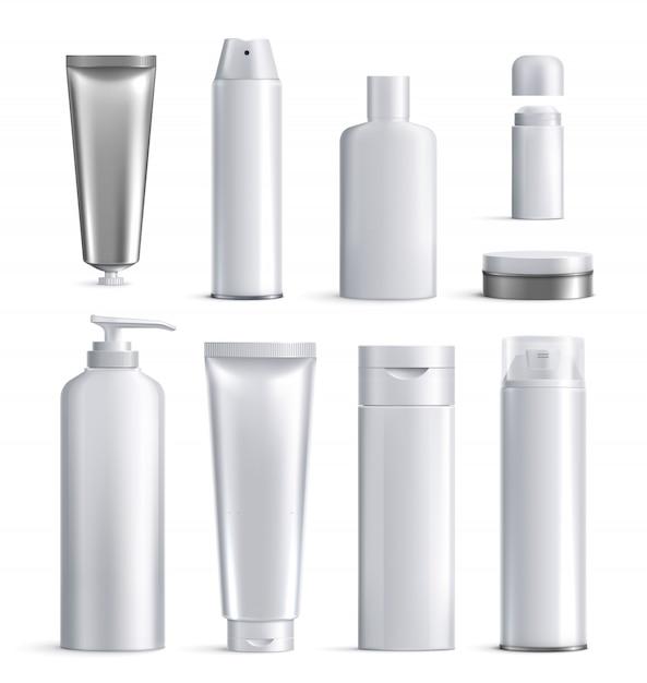 Ícone realista de garrafas de cosméticos para homens definir diferentes formas e tamanhos para ilustração de beleza Vetor grátis