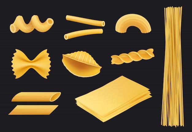 Ícone realista de massa italiana, macarrão espaguete de comida tradicional fusilli cozinhar ingredientes amarelos isolados Vetor Premium