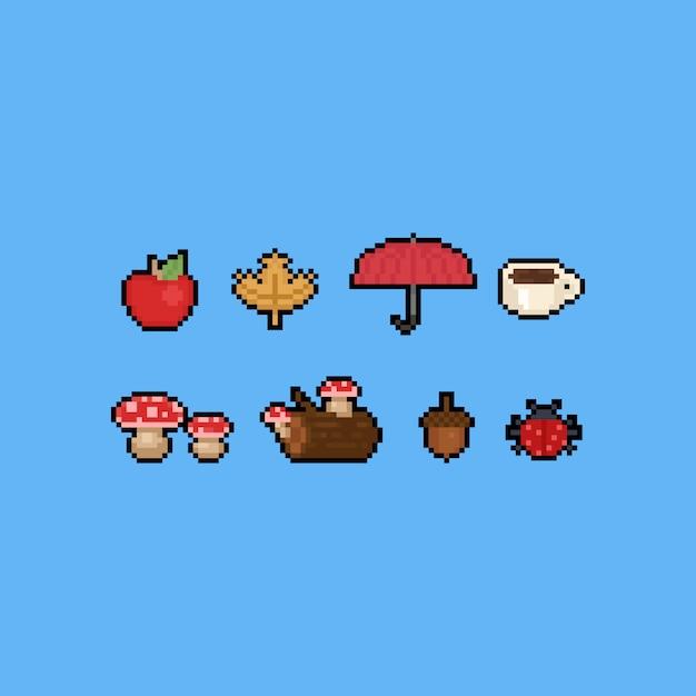 Ícone set.8bit do outono dos desenhos animados da arte do pixel. Vetor Premium