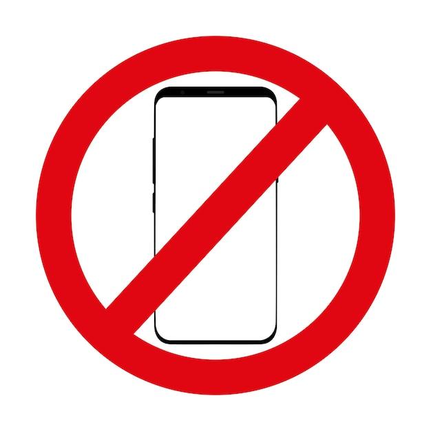Ícone vermelho que nega usando o telefone no branco. Vetor Premium