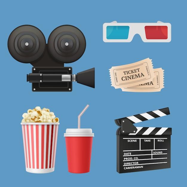 Ícones 3d do cinema. claquete de filmadora de filme filme fita e óculos estéreo objetos realistas isolados Vetor Premium