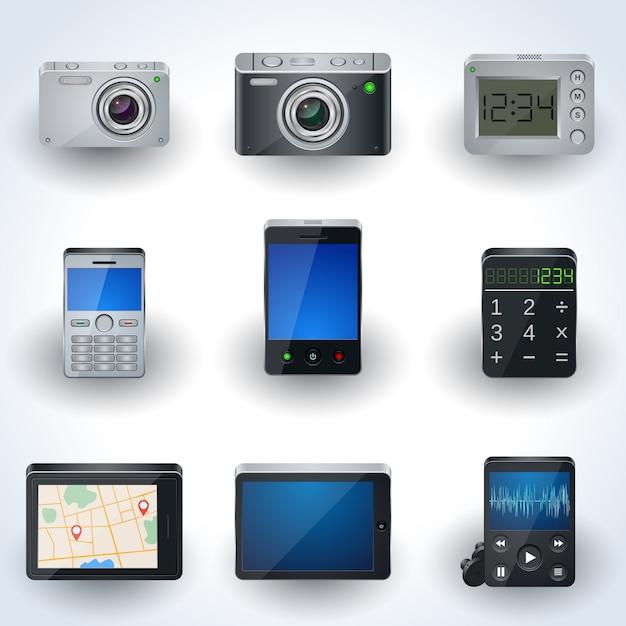 Ícones 3d realistas eletrônicos modernos, conjunto de elementos de interface Vetor Premium