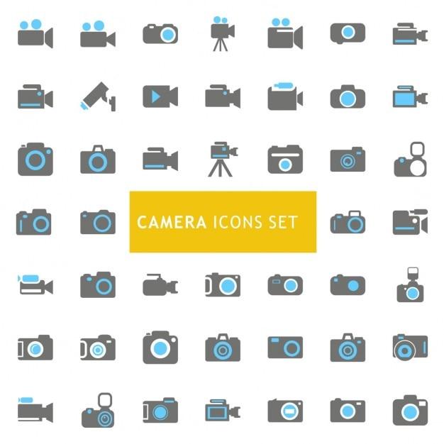 Ícones ajustados sobre câmeras Vetor grátis