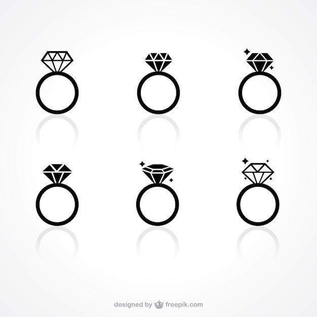 Ícones anel de diamante Vetor grátis