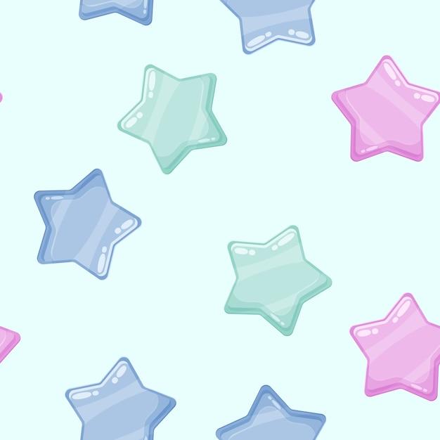Ícones brilhantes de estrelas brilhantes coloridas dos desenhos animados. Vetor Premium