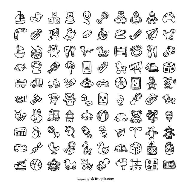 Ícones brinquedos do doodle set Vetor Premium