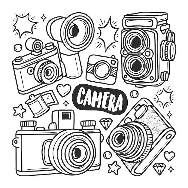 Ícones câmera mão desenhada doodle colorir Vetor grátis