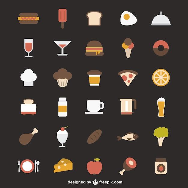 Ícones coloridos de alimentos Vetor grátis