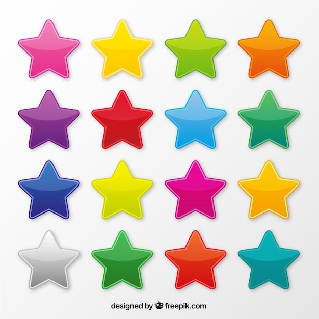 Ícones coloridos estrela Vetor grátis
