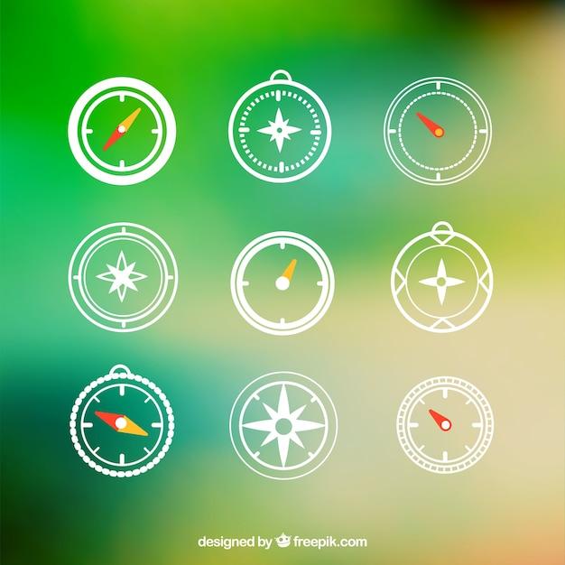 Ícones compass Vetor grátis