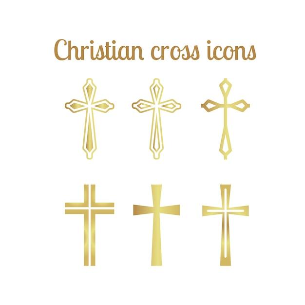 Ícones cruzados cristãos dourados Vetor Premium